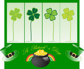 St. Patrick's hat with clover — Stock Vector