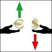 Dollar euro exchange rate trend — Stock Vector