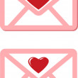 Pink envelopes with red hearts for valentine day — Stock Vector #40667017