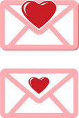 Pink envelopes with red hearts for valentine day — 图库矢量图片