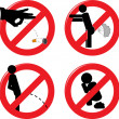 Stock Vector: Prohibit signs for healthcare and rude behavior
