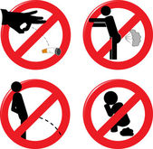 Prohibit signs for healthcare and rude behavior — Stock Vector
