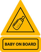 PrintVector yellow baby on board — Stock Vector