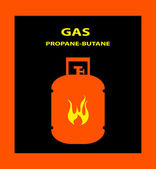 Gas propane butane danger sign — Stock Vector