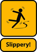 Slippery warning yellow sign — Stock Vector