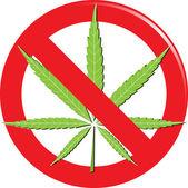 Marijuana prohibit sign — Stock Vector
