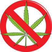 Marijuana prohibit sign — Stock Vector