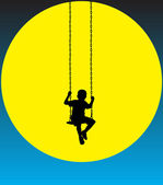 Boy on a swing at moon — Stock Vector