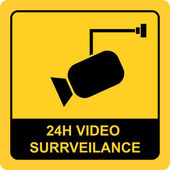 Surveillance twenty four hours sign — Stock Vector