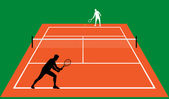 Tennis match on clay — Stock Vector