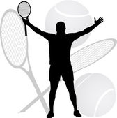 Tennis winner raised his hands and racket in the air — Stock Vector