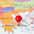 Red Pushpin on Map of Greece — Stock Photo #38362509