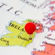 Red Pushpin on Map of Ireland — Stock Photo