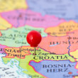 Red Pushpin on Map of Croatia — Stock Photo