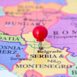 Red Pushpin on Map of Serbia — Stock Photo #38362631