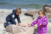 Two Kids Collecting Beach Pebble — Stock Photo