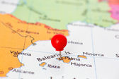 Red Pushpin on Map of Majorca — Stock Photo