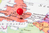 Rode punaise op kaart van Engeland — Stockfoto