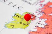 Red Pushpin on Map of Ireland — Stock Photo