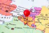 Red Pushpin on Map of Belgium — Stock Photo