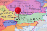 Red Pushpin on Map of Bulgaria — Stock Photo