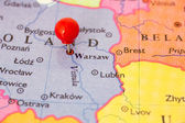 Red Pushpin on Map on Poland — Stock Photo