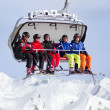 Five skiers in skilift — Stock Photo #40308357