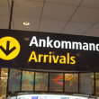 Arrivals sign at Arlanda airport — Stock Photo