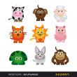 Set of animals. Cartoon and vector isolated — Stock Vector