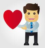 Businessman in love — Stock Vector