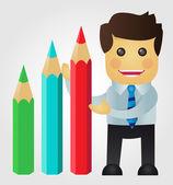 Iş adamı ile kalemler bir istatistik sunmak — Stok Vektör