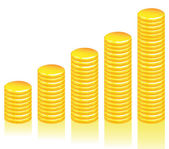 Graph of gold coins — Stockvector