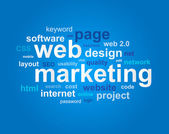 Web marketing in word cloud on blue background — Stock Vector