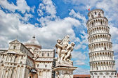Pisa, place of miracles the leaning tower and the cathedral baptistery, Italy — Stock Photo