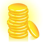 Stack of gold coins, vector. — Stock Vector