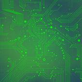 Yeşil arka plan dijital teknolojileri - elektronik devre — Stok Vektör