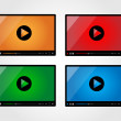 Video player for web in different colors — Stock Vector