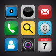 Vector app icon set on a black background — Stockvectorbeeld