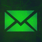 Message circuit over green background vector — 图库矢量图片