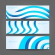 Banners or website headers with abstract wave forms in blue color — Stock Vector