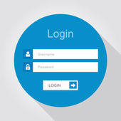 Login interface - username and password, flat design — Stock Vector