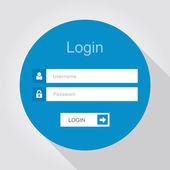 Login interface - username and password, flat design — Stock Vector