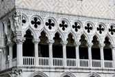 Closeup of Doge s Palace white tracery facade in Venice, Italy — Stock Photo
