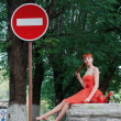 Foto de Stock  : Girl in red dress