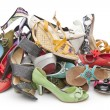 Pile of various female shoes — Stockfoto