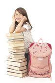 Kitap sırt çantası ile kız öğrenci — Stok fotoğraf