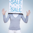 Sale Cube - Women occupied with sale — Stock Photo