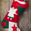Christmas stocking and ornament — Stock Photo