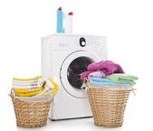 Laundry baskets and washing machine — Stock Photo
