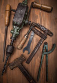 Dirty set of hand tools — Stock Photo